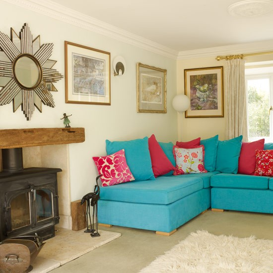 Bold Sofa And Cushions Colourful Living Room Ideas PHOTO GALLERY