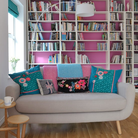 Painted shelving colourful living room ideas 20 of the Living room shelving ideas