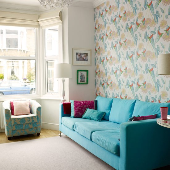 Colourful living room ideas 20 of the best housetohome for Pink living room wallpaper
