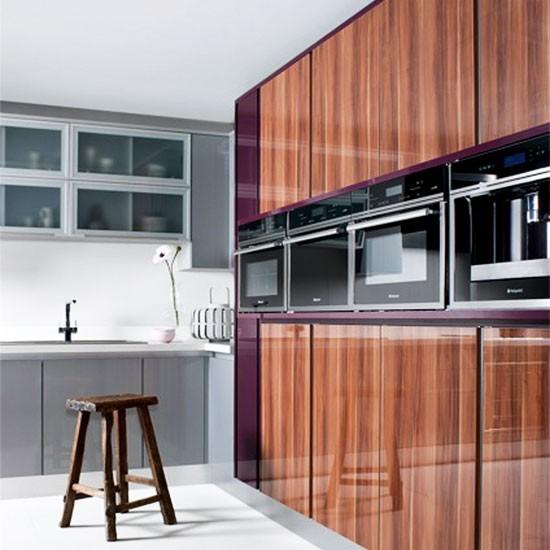 glossy wood veneer kitchen contemporary kitchen ideas