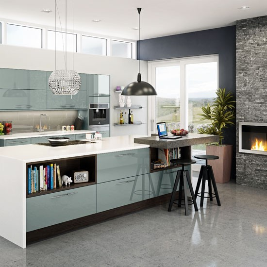 Sleek open plan family kitchen contemporary kitchen for Sleek modern kitchen ideas