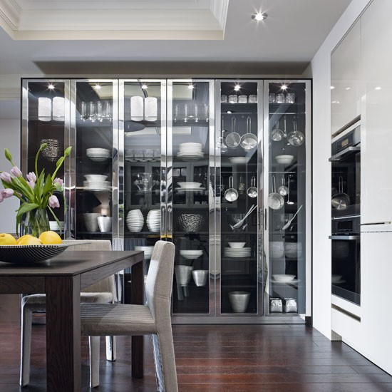 Chic Aluminium And Glass Cabinets Contemporary Kitchen Ideas
