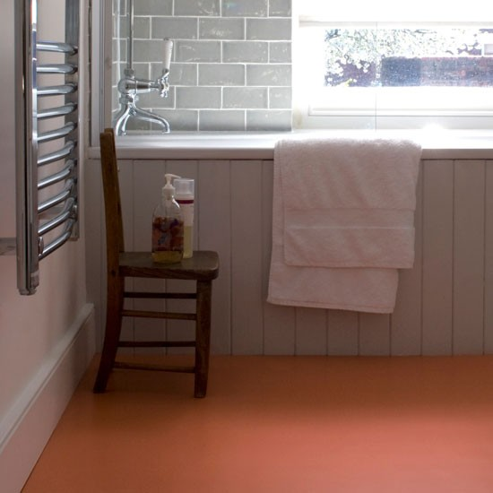 Terracotta vinyl sheet flooring from the colour flooring for Vinyl flooring bathroom