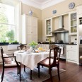 Step inside a hand-painted kitchen with traditional features