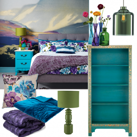 rich blue and purple bedroom moodboards