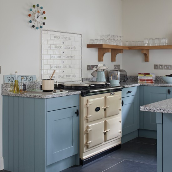 blue and cream aga kitchen