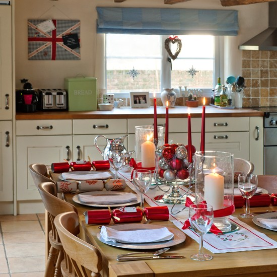 red and cream dining room  Country kitchen design ideas  Country