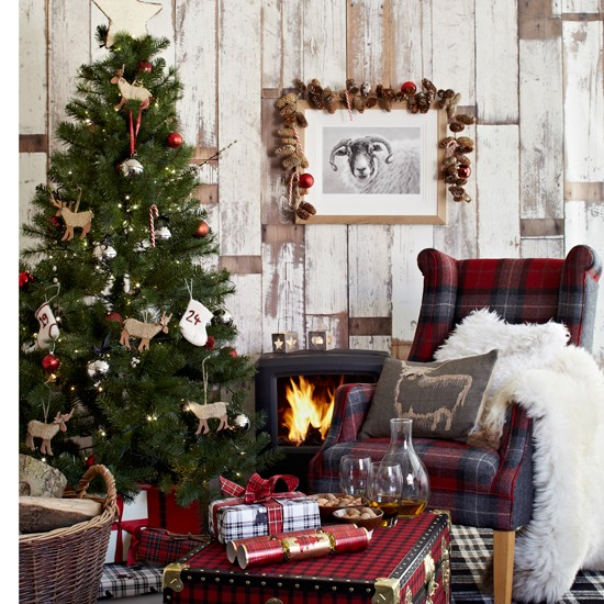 Chalet style festive living room for Home christmas decorations uk