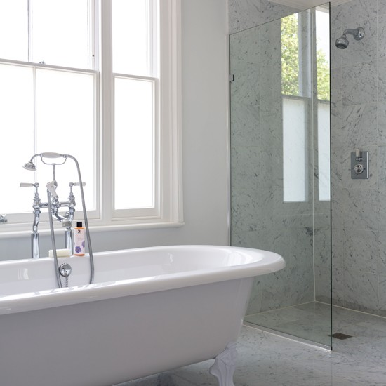 Soft Bathroom Flooring Ideas : Soft grey marble bathroom housetohome