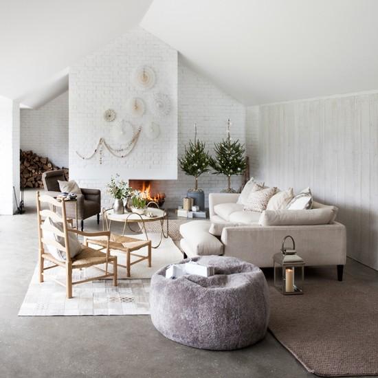 White Scandi style Living Room Housetohomecouk