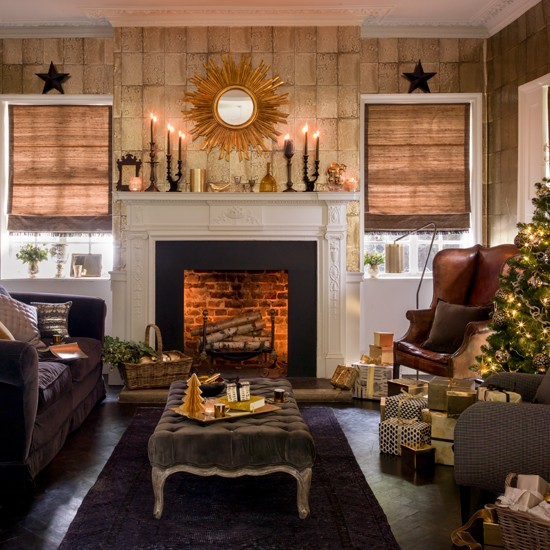 Black and gold festive living room for Gold and black living room ideas