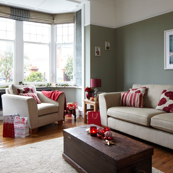 grey and red festive living room traditional christmas decorating