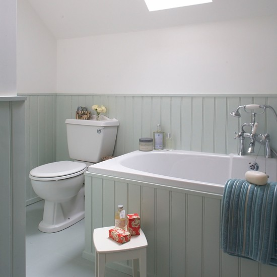 aqua tongue and groove bathroom