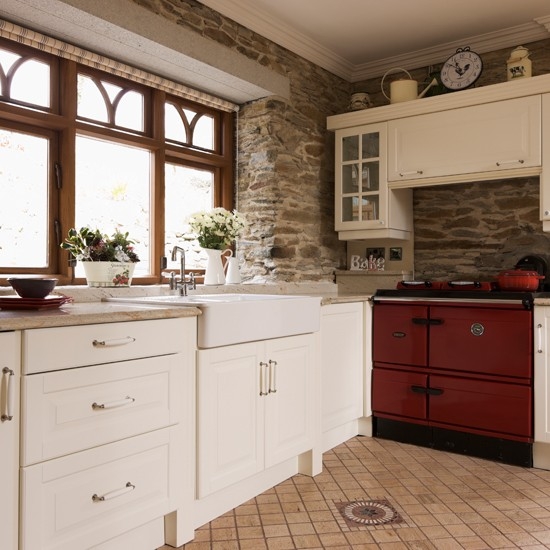 Exposed Brick Country Kitchen With Aga