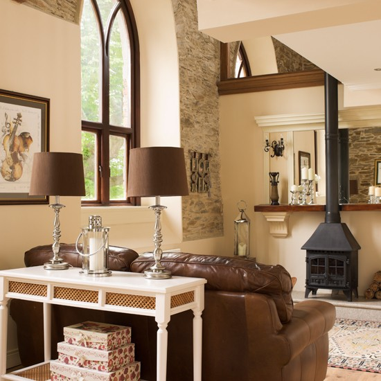 cream country living room with stove