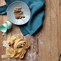 Fresh grain mustard pappardelle