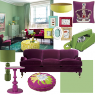  Green and raspberry living room