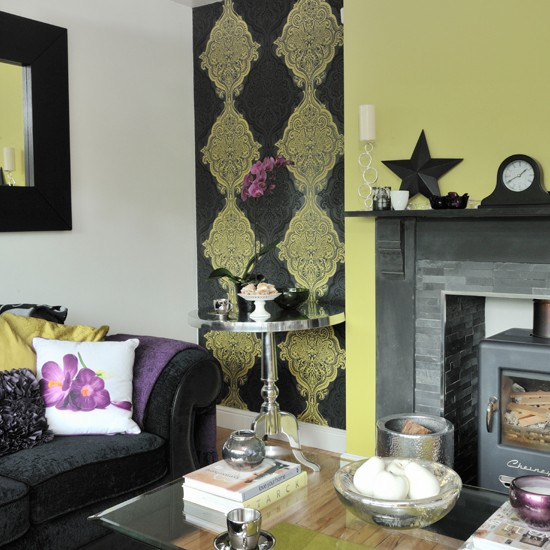 lime green and black patterned living room living room decorating