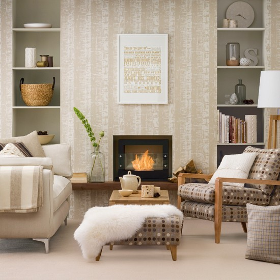 Neutral living room with patterned wallpaper housetohome for Neutral living room ideas