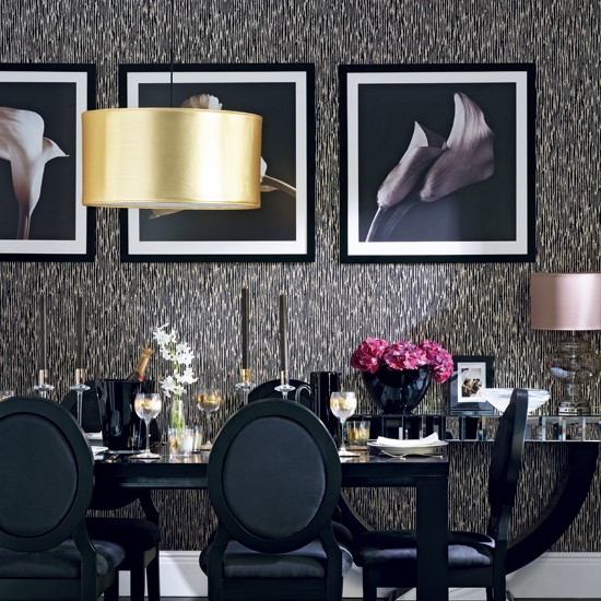 Glamorous black and gold dining room | housetohome.