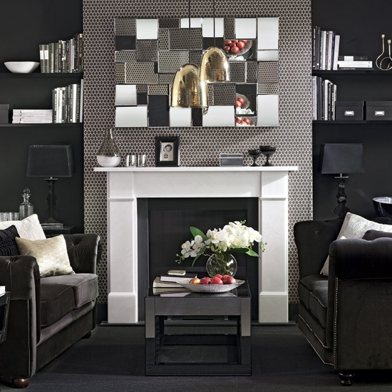 And Smart Buttoned Sofas Create A Glamorous Look In This Living Room