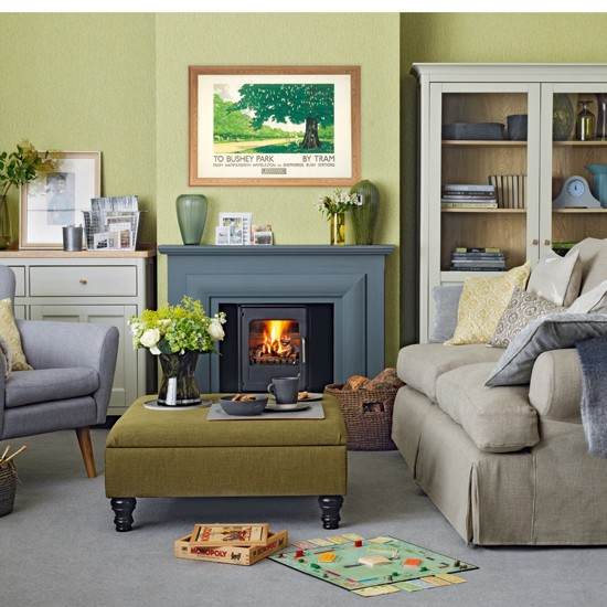 Olive green and grey living room housetohomecouk for Green and gray living room