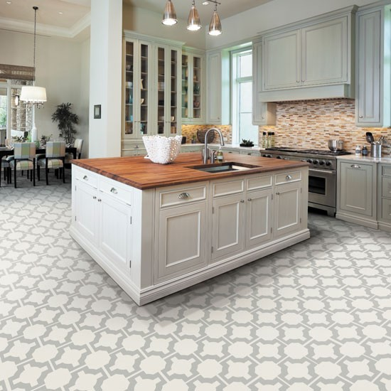 White kitchen with patterned flooring kitchen flooring for Pictures of floor tiles for kitchens
