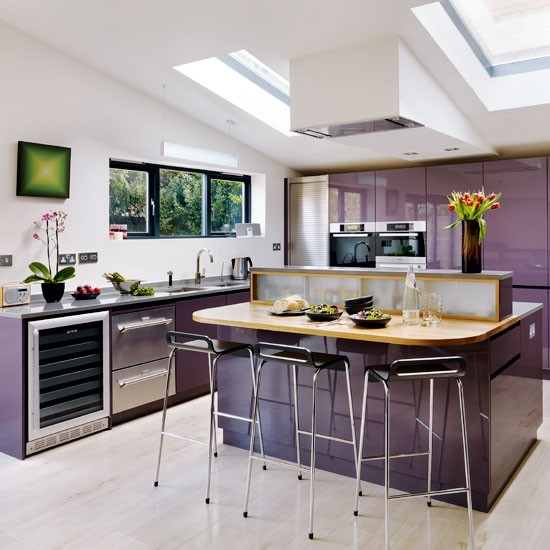Kitchen layout | Tour a dusky plum open-plan kitchen | housetohome.