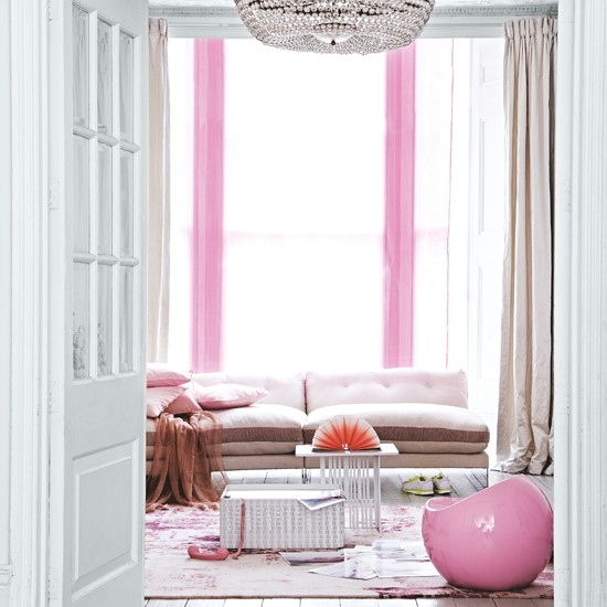White living room with pink curtains | Gorgeous pinks - 10 decorating ideas | Living room | Housetohome.co.uk
