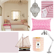 Pink and white summer living room