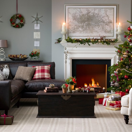 Traditional Neutral Festive Living Room