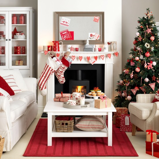Scandi Style Red And White Living Room