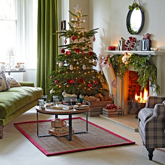Classic Green And Red Living Room With Tree