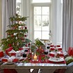 Green and red Christmas dining room