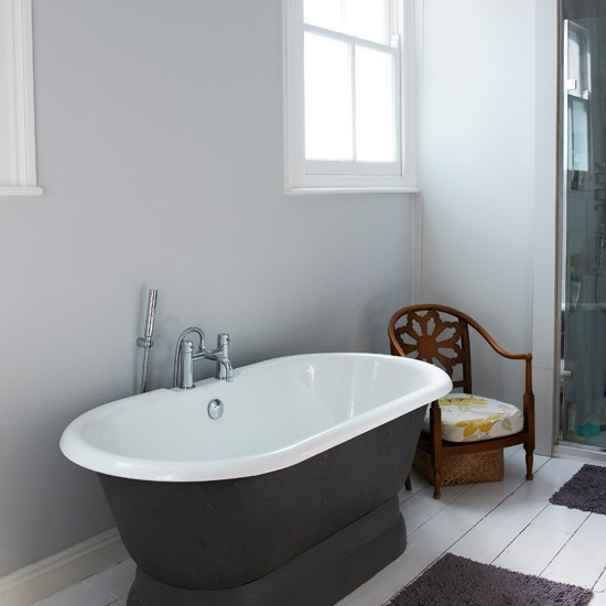 Freestanding bath in charcoal and white bathroom for Charcoal bathroom designs