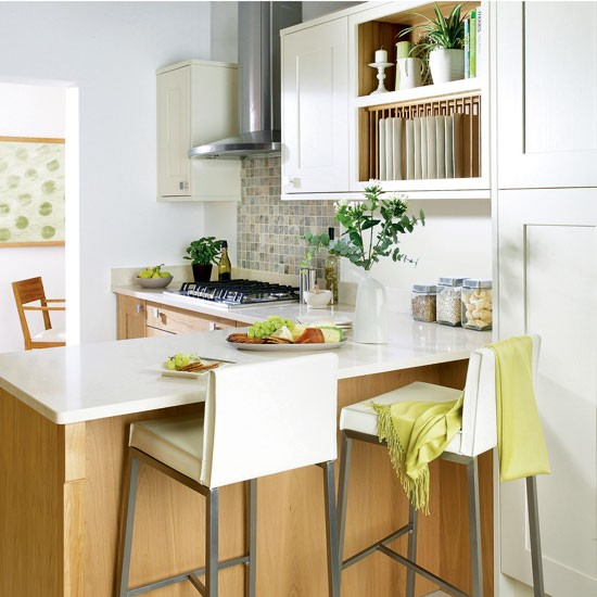 Shaker style kitchen integrated breakfast bar small for Small kitchen ideas uk