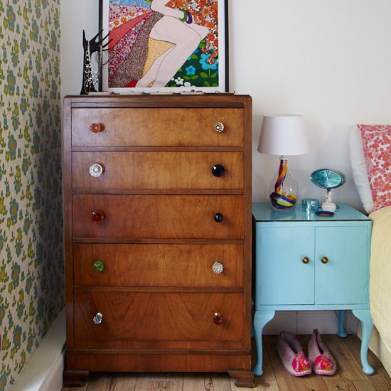 Retro bedroom with upcycled furniture small bedroom Small bedroom furniture ideas