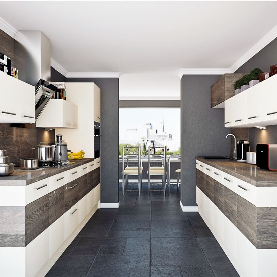 Contemporary colour block galley kitchens galley kitchen for Galley kitchen ideas uk