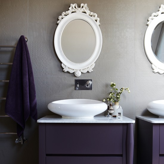 aubergine and grey modern bathroom modern decorating