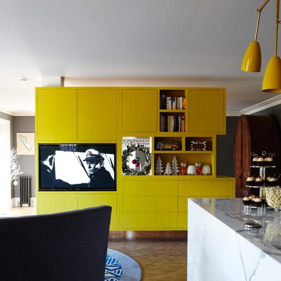 Yellow Kitchen Storage: Freestanding Storage Unit Room Divider