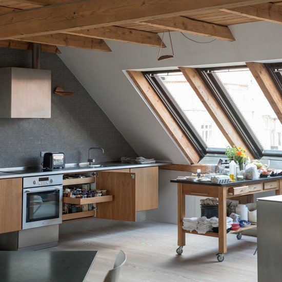 Loft Kitchen With Wood Details