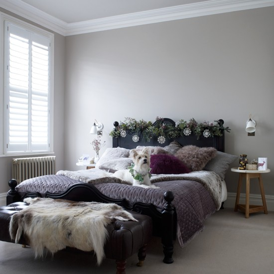 Neutral bedroom with purple throw traditional decorating for Neutral bedroom decor ideas