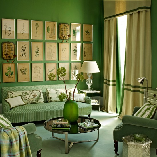 With striped green and cream sofa cream curtains and cream lampshade
