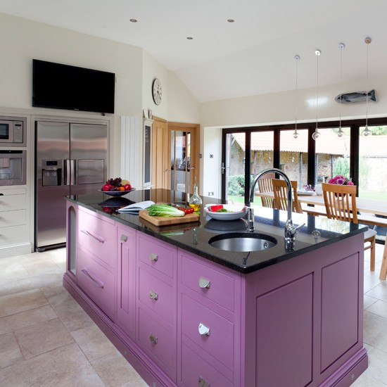 Plum painted kitchen island  Painted kitchen design ideas  Kitchen