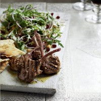 Barbecued lamb cutlets with chickpea and pomegranate salad