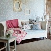 Blue and pink living room with daybed