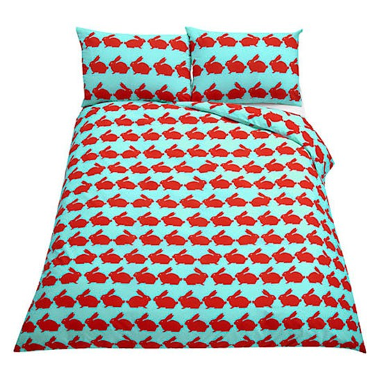 Anorak kissing rabbits duvet cover from John Lewis | Bedroom