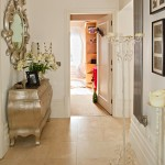 Travertine tiled hallway