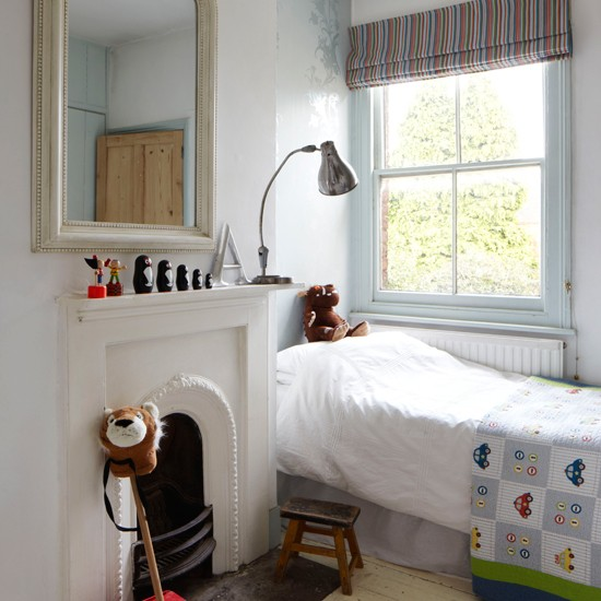 White and pale blue children's bedroom