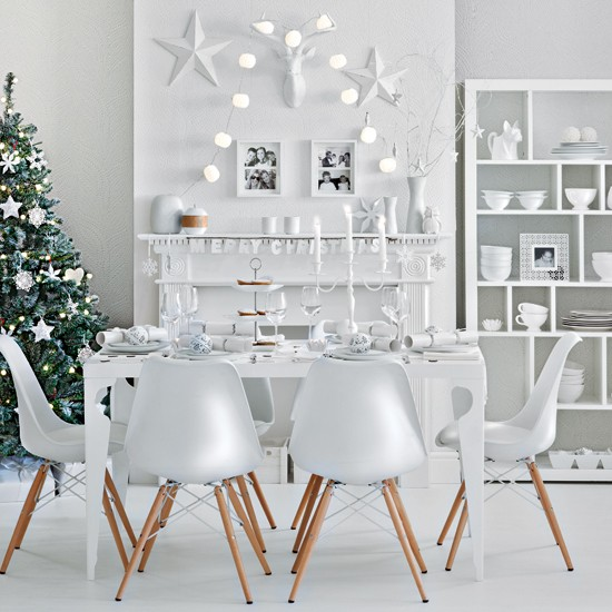Winter white festive dining room housetohomecouk